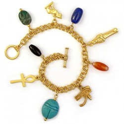 Egyptian Amulet Charm Bracelet Egyptian Marketplace  Egyptian Decor Statues, Jewelry & Art - God Statues & Museum Replicas