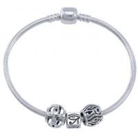 Eye of Horus Sterling Silver Bead Bracelet