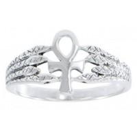 Egyptian Ankh Snake Silver Ring