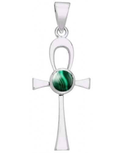 Ankh Egyptian Pendant with Malachite Gem at Egyptian Marketplace,  Egyptian Decor Statues, Jewelry & Art - God Statues & Museum Replicas