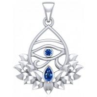 Lotus Eye of Horus Gemstone Pendant