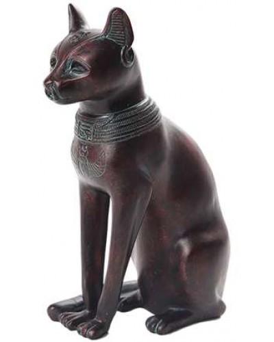 Bastet Egyptian Cat Goddess Antique Bronze Finish Small Statue at Egyptian Marketplace,  Egyptian Decor Statues, Jewelry & Art - God Statues & Museum Replicas