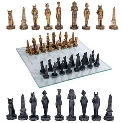 Egyptian Chess Set with Glass Board Egyptian Marketplace  Egyptian Decor Statues, Jewelry & Art - God Statues & Museum Replicas