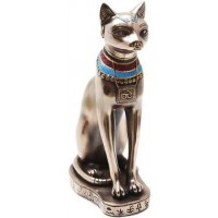 Bastet Bronze Cat Statue with Collar