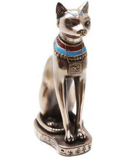 Bastet Bronze Cat Statue with Collar at Egyptian Marketplace,  Egyptian Decor Statues, Jewelry & Art - God Statues & Museum Replicas