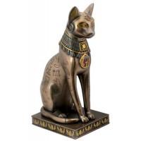 Bastet Bronze Hieroglyphic Cat Statue