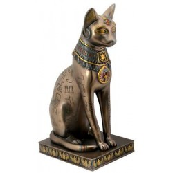 Bastet Bronze Hieroglyphic Cat Statue Egyptian Marketplace  Egyptian Decor Statues, Jewelry & Art - God Statues & Museum Replicas