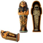 King Tut Coffin with King Tut Mummy at Egyptian Marketplace,  Egyptian Decor Statues, Jewelry & Art - God Statues & Museum Replicas