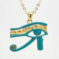 Egyptian Eye of Horus Blue Enameled Necklace