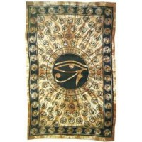 Egyptian Eye of Horus Bedspread - Brown