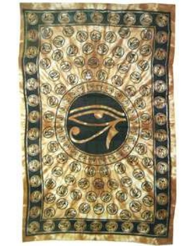 Egyptian Eye of Horus Bedspread - Brown at Egyptian Marketplace,  Egyptian Decor Statues, Jewelry & Art - God Statues & Museum Replicas