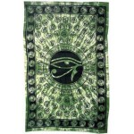 Egyptian Eye of Horus Bedspread - Green at Egyptian Marketplace,  Egyptian Decor Statues, Jewelry & Art - God Statues & Museum Replicas