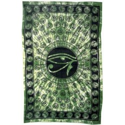 Egyptian Eye of Horus Bedspread - Green Egyptian Marketplace  Egyptian Decor Statues, Jewelry & Art - God Statues & Museum Replicas