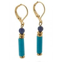 Egyptian Turquoise and Lapis Drop Earrings