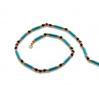 Egyptian Turquoise and Lapis Bead Necklace