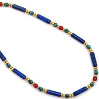 Egyptian Lapis and Turquoise Necklace