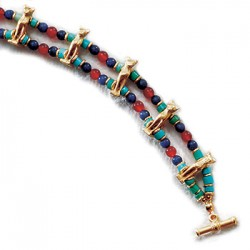 Bastet Cat Bracelet with Beads Egyptian Marketplace  Egyptian Decor Statues, Jewelry & Art - God Statues & Museum Replicas