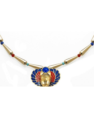 Winged Scarab Lapis and Gold Egyptian Necklace at Egyptian Marketplace,  Egyptian Decor Statues, Jewelry & Art - God Statues & Museum Replicas