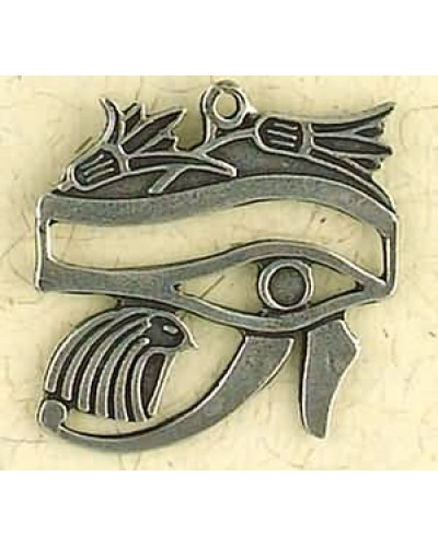 Eye of Horus with Lotus Pewter Necklace at Egyptian Marketplace,  Egyptian Decor Statues, Jewelry & Art - God Statues & Museum Replicas