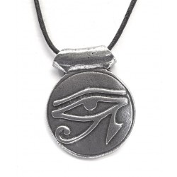 Eye of Horus Disk Pewter Necklace Egyptian Marketplace  Egyptian Decor Statues, Jewelry & Art - God Statues & Museum Replicas