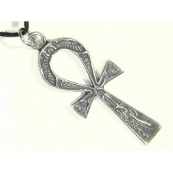 Ankh Inscribed Pewter Necklace