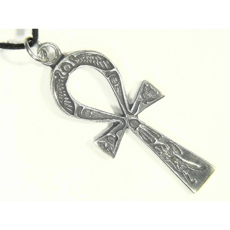 Ankh Inscribed Pewter Necklace In Pewter Or Brass Egyptian Jewelry