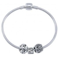 Eye of Horus Sterling Silver Bead Bracelet