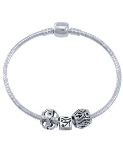 Eye of Horus Sterling Silver Bead Bracelet at Egyptian Marketplace,  Egyptian Decor Statues, Jewelry & Art - God Statues & Museum Replicas