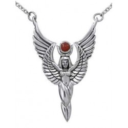 Winged Isis by Oberon Zell Silver or Gold Necklace