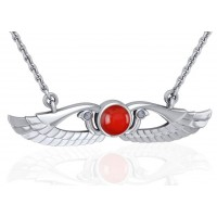 Carnelian Modern Egyptian Winged Sun Disc Necklace