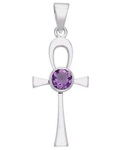 Ankh Egyptian Pendant with Amethyst Gem
