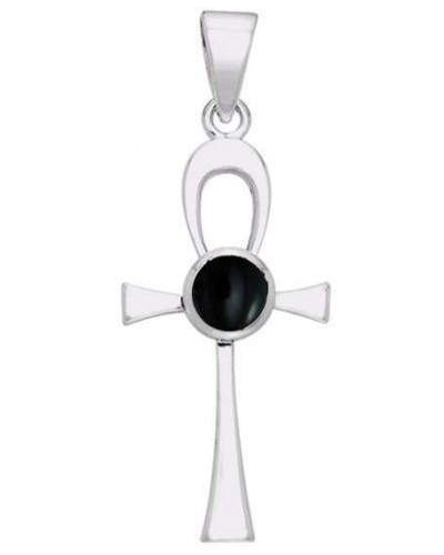 Ankh Egyptian Pendant with Black Onyx Gem