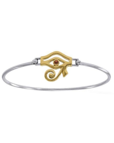 Eye of Horus Sterling and Gold Bangle Bracelet at Egyptian Marketplace,  Egyptian Decor Statues, Jewelry & Art - God Statues & Museum Replicas