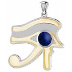 Lapis Eye of Horus Gold Accented Pendant at Egyptian Marketplace,  Egyptian Decor Statues, Jewelry & Art - God Statues & Museum Replicas