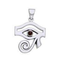 Eye of Horus Garnet Gemstone Pendant