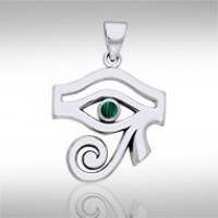 Eye of Horus Malachite Gemstone Pendant