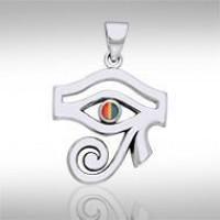 Eye of Horus Rainbow Gemstone Pendant