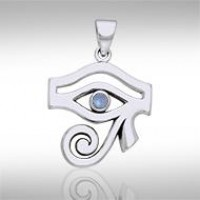 Eye of Horus Rainbow Moonstone Gemstone Pendant