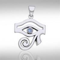 Eye of Horus Rainbow Moonstone Gemstone Pendant