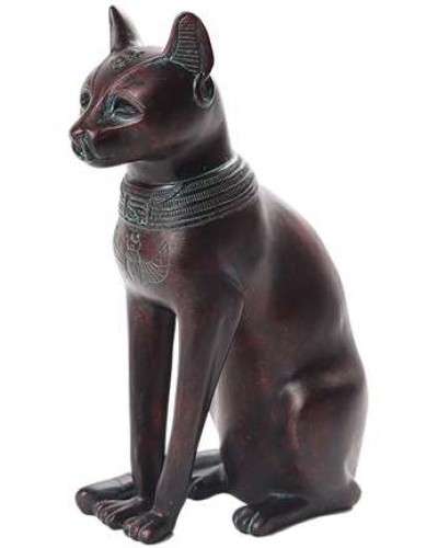 Bastet Egyptian Cat Goddess Antique Bronze Finish Small Statue at Egyptian Marketplace,  Egyptian Decor Statues, Jewelry & Art - God Statues & Museum Replicas
