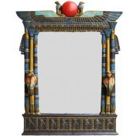 Wadjet Egyptian Wall Mirror with Cobra Candle Sconces
