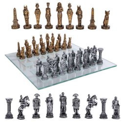 Egypt Vs Rome Chess Set with Glass Board Egyptian Marketplace  Egyptian Decor Statues, Jewelry & Art - God Statues & Museum Replicas