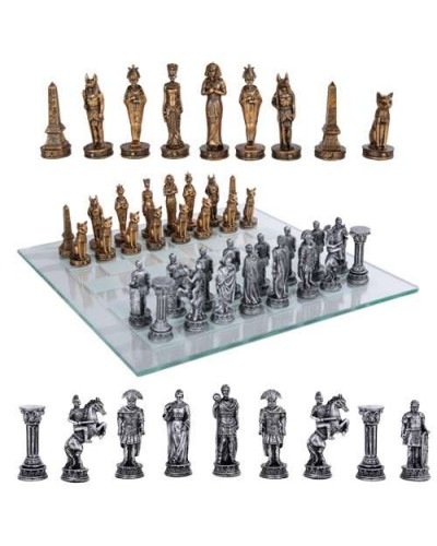 Egypt Vs Rome Chess Set with Glass Board at Egyptian Marketplace,  Egyptian Decor Statues, Jewelry & Art - God Statues & Museum Replicas