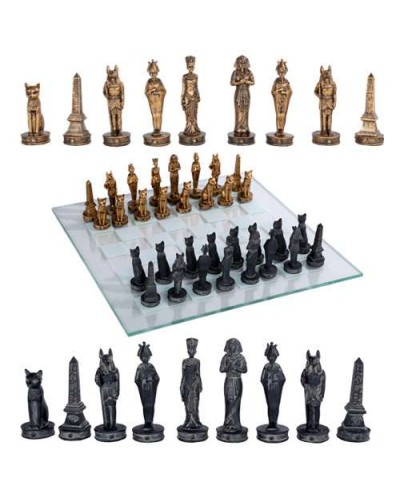 Egyptian Chess Set with Glass Board at Egyptian Marketplace,  Egyptian Decor Statues, Jewelry & Art - God Statues & Museum Replicas