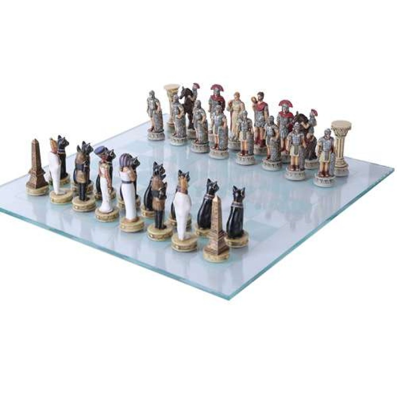 romans vs egyptians chess set with glass board - 3 3/4 inch high