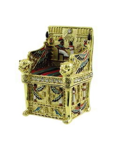 Kings Throne Egyptian Jeweled Mini Box - 2.5 Inches at Egyptian Marketplace,  Egyptian Decor Statues, Jewelry & Art - God Statues & Museum Replicas
