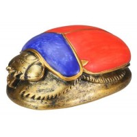 Red, Blue and Gold Egyptian Scarab