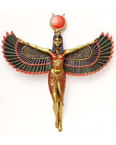 Winged Isis Egyptian Goddess Plaque at Egyptian Marketplace,  Egyptian Decor Statues, Jewelry & Art - God Statues & Museum Replicas