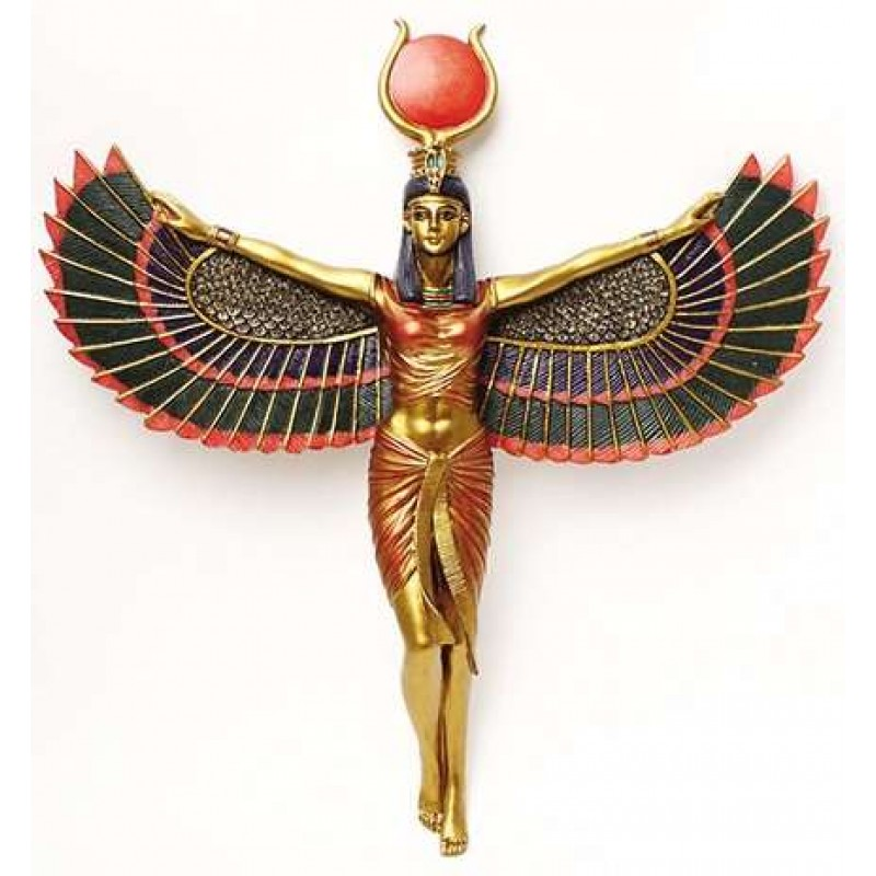 Egyptian Winged Isis Goddess Plaque 12 1 4 Inches