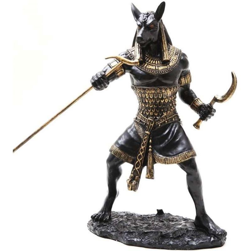 seth warrior statue in black